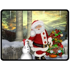 Sanata Claus With Snowman And Christmas Tree Fleece Blanket (large)  by FantasyWorld7