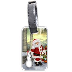 Sanata Claus With Snowman And Christmas Tree Luggage Tags (two Sides) by FantasyWorld7