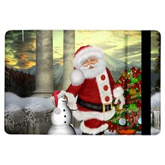 Sanata Claus With Snowman And Christmas Tree Ipad Air Flip by FantasyWorld7