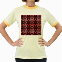 Woven1 Black Marble & Red Watercolor (r) Women s Fitted Ringer T Shirts by trendistuff