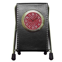 Woven2 Black Marble & Red Watercolor Pen Holder Desk Clocks by trendistuff