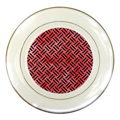 Woven2 Black Marble & Red Watercolor Porcelain Plates by trendistuff