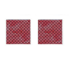 Woven2 Black Marble & Red Watercolor Cufflinks (square) by trendistuff