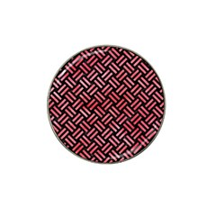 Woven2 Black Marble & Red Watercolor (r) Hat Clip Ball Marker (10 Pack) by trendistuff
