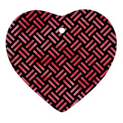 Woven2 Black Marble & Red Watercolor (r) Heart Ornament (two Sides) by trendistuff