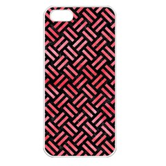 Woven2 Black Marble & Red Watercolor (r) Apple Iphone 5 Seamless Case (white) by trendistuff