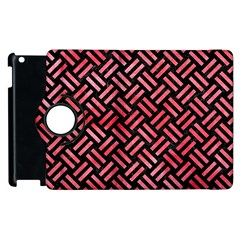 Woven2 Black Marble & Red Watercolor (r) Apple Ipad 3/4 Flip 360 Case by trendistuff