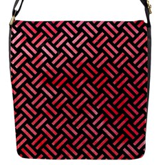 Woven2 Black Marble & Red Watercolor (r) Flap Messenger Bag (s) by trendistuff