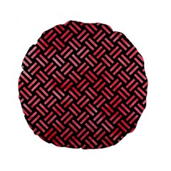 Woven2 Black Marble & Red Watercolor (r) Standard 15  Premium Flano Round Cushions by trendistuff