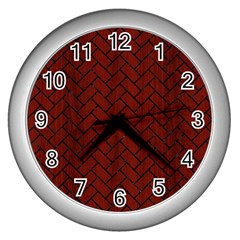 Brick2 Black Marble & Red Wood Wall Clocks (silver)  by trendistuff