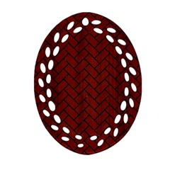 Brick2 Black Marble & Red Wood Oval Filigree Ornament (two Sides) by trendistuff
