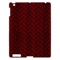 Brick2 Black Marble & Red Wood Apple Ipad 3/4 Hardshell Case by trendistuff