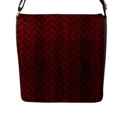 Brick2 Black Marble & Red Wood Flap Messenger Bag (l)  by trendistuff