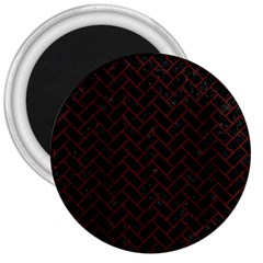 Brick2 Black Marble & Red Wood (r) 3  Magnets by trendistuff