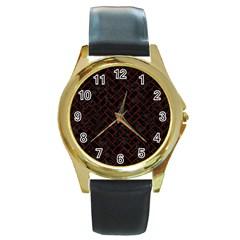 Brick2 Black Marble & Red Wood (r) Round Gold Metal Watch by trendistuff