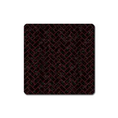 Brick2 Black Marble & Red Wood (r) Square Magnet by trendistuff