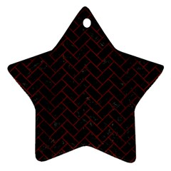 Brick2 Black Marble & Red Wood (r) Star Ornament (two Sides) by trendistuff