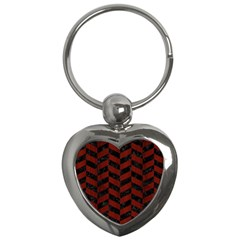 Chevron1 Black Marble & Red Wood Key Chains (heart)  by trendistuff