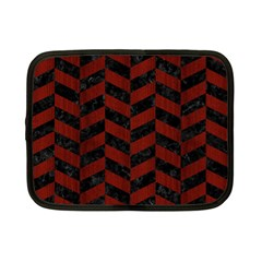 Chevron1 Black Marble & Red Wood Netbook Case (small)  by trendistuff
