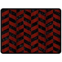 Chevron1 Black Marble & Red Wood Double Sided Fleece Blanket (large)  by trendistuff