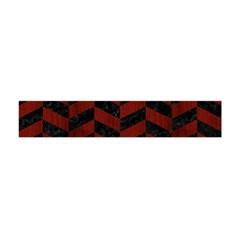 Chevron1 Black Marble & Red Wood Flano Scarf (mini) by trendistuff