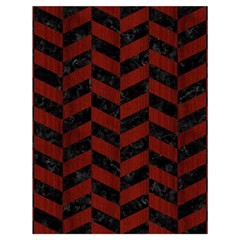Chevron1 Black Marble & Red Wood Drawstring Bag (large) by trendistuff