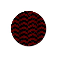 Chevron2 Black Marble & Red Wood Rubber Round Coaster (4 Pack)  by trendistuff