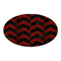 Chevron2 Black Marble & Red Wood Oval Magnet by trendistuff