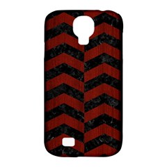 Chevron2 Black Marble & Red Wood Samsung Galaxy S4 Classic Hardshell Case (pc+silicone) by trendistuff