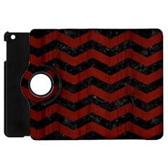 Chevron3 Black Marble & Red Wood Apple Ipad Mini Flip 360 Case by trendistuff
