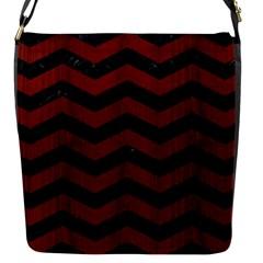 Chevron3 Black Marble & Red Wood Flap Messenger Bag (s) by trendistuff