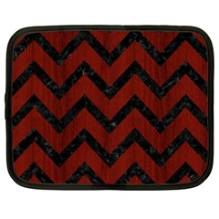 Chevron9 Black Marble & Red Wood Netbook Case (large) by trendistuff