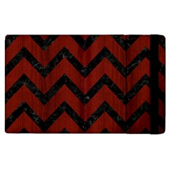 Chevron9 Black Marble & Red Wood Apple Ipad 3/4 Flip Case by trendistuff