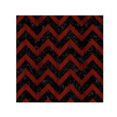 Chevron9 Black Marble & Red Wood (r) Small Satin Scarf (square) by trendistuff