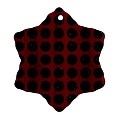 Circles1 Black Marble & Red Wood Snowflake Ornament (two Sides) by trendistuff