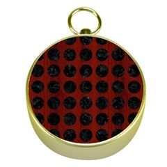 Circles1 Black Marble & Red Wood Gold Compasses by trendistuff
