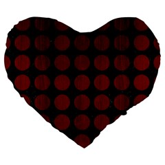Circles1 Black Marble & Red Wood (r) Large 19  Premium Flano Heart Shape Cushions by trendistuff