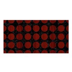 Circles1 Black Marble & Red Wood (r) Satin Shawl by trendistuff