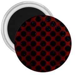 Circles2 Black Marble & Red Wood 3  Magnets by trendistuff
