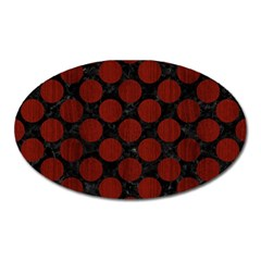 Circles2 Black Marble & Red Wood (r) Oval Magnet by trendistuff