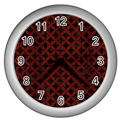 Circles3 Black Marble & Red Wood (r) Wall Clocks (silver)  by trendistuff
