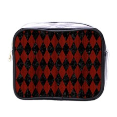Diamond1 Black Marble & Red Wood Mini Toiletries Bags by trendistuff