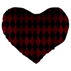 Diamond1 Black Marble & Red Wood Large 19  Premium Flano Heart Shape Cushions by trendistuff
