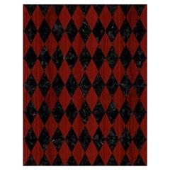 Diamond1 Black Marble & Red Wood Drawstring Bag (large) by trendistuff
