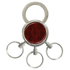 Damask1 Black Marble & Red Wood 3 Ring Key Chains by trendistuff