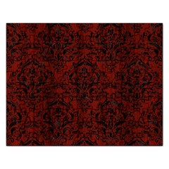 Damask1 Black Marble & Red Wood Rectangular Jigsaw Puzzl by trendistuff