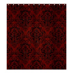 Damask1 Black Marble & Red Wood Shower Curtain 66  X 72  (large)  by trendistuff