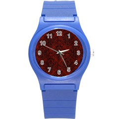 Damask1 Black Marble & Red Wood Round Plastic Sport Watch (s) by trendistuff