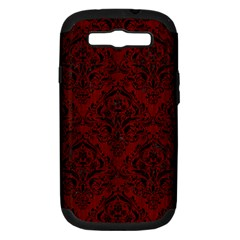 Damask1 Black Marble & Red Wood Samsung Galaxy S Iii Hardshell Case (pc+silicone) by trendistuff