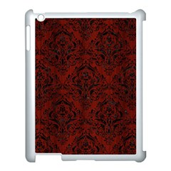 Damask1 Black Marble & Red Wood Apple Ipad 3/4 Case (white) by trendistuff